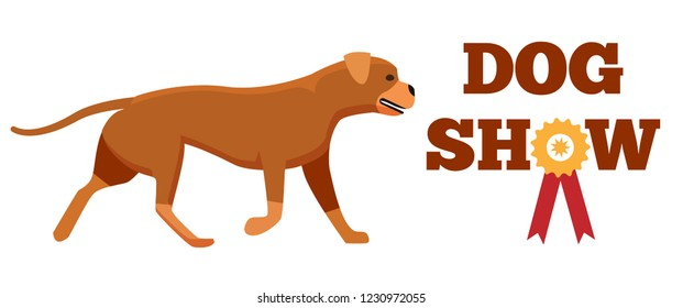 Dog show award with ribbon and canine animal design veterinary clinic logo label with cute breed, petshop advertisement poster isolated on white
