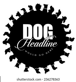 Dog silhouettes advertising background