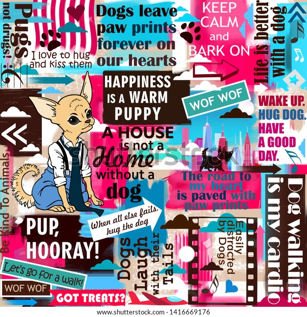 Dog Slogans Sayings Quotes Background Collage Stock Illustration