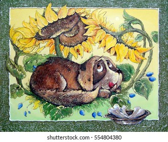 Dog and sunflowers, oil paintings,art, illustrations.