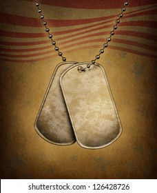 Dog Tags on an old grunge texture with the American flag theme made of metal with beaded necklace as an icon of the military identification of soldiers for medical help of wounded and fallen heroes.