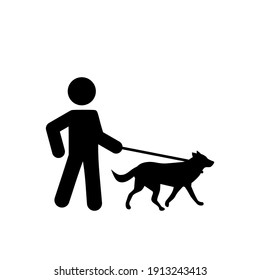 Dog walker icon isolated on white background. Animal care concept