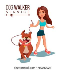 Dog Walker. Walking With Pets. Go For A Walk. Flat Cartoon Illustration