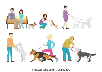Dog walking set. Set of isolated illustrations of people with pets.