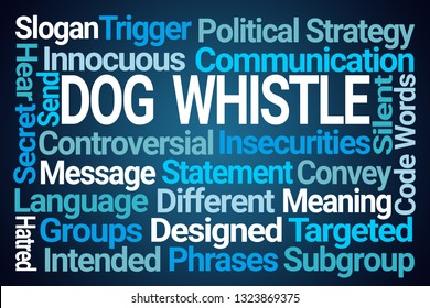 Dog Whistle Word Cloud on Blue Background