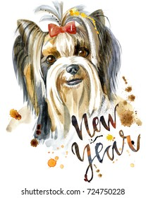 Dog, yorkie on white background. Hand drawn sweet pet illustration with the inscription New Year. Symbol of the year 2018