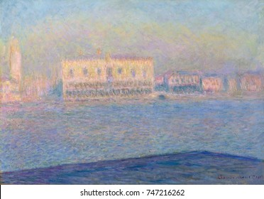 The Doges Palace Seen from San Giorgio Maggiore, by Claude Monet, 1908, impressionist oil painting. Monet began this painting in 1904, and completed it in France for a 1912 exhibit