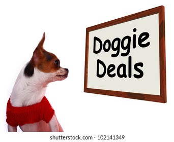 Doggie Deals Sign Shows Dog Bargains Deals And Clearance