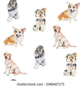 Dogs breeds watercolor illustration pattern