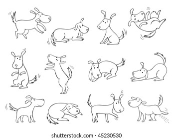 Dogs collection - only contour - raster
