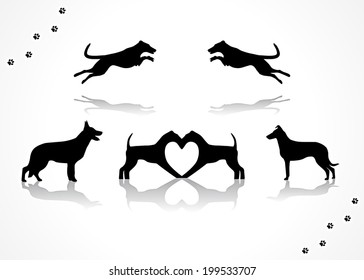 Dogs collection silhouette