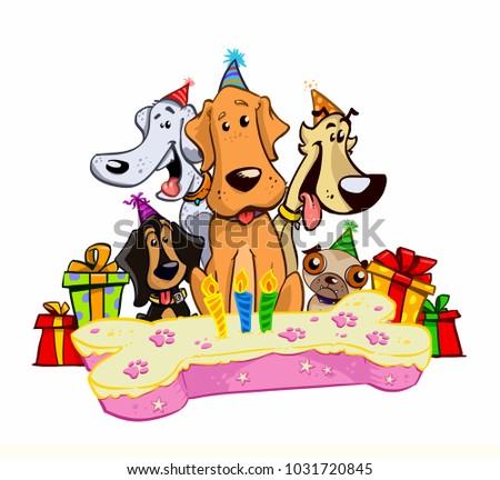 Dogs Happy Birthday Celebration Pet White Background Cartoon Funny