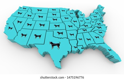 Dogs Pets Animals USA United States America Map 3d Illustration