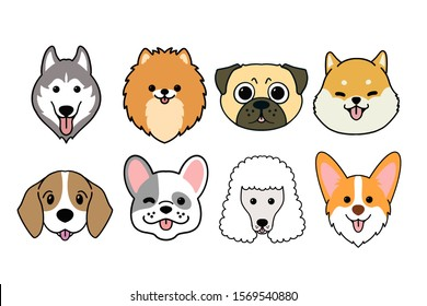Dogs smiling face collection.illustration of funny cartoon different breeds dogs in trendy flatstyle. Isolated on white.in mirror drawing