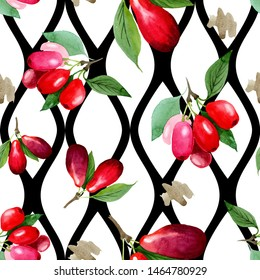 Dogwood red fruit and green leaves. Watercolor background illustration set. Watercolour drawing fashion aquarelle isolated. Seamless background pattern. Fabric wallpaper print texture.