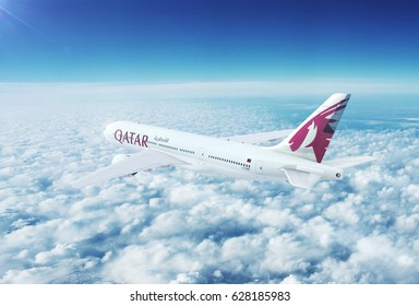 DOHA, QATAR - APRIL 26, 2017: Aerial in-flight view of Qatar Airways Boeing 777 on the world's longest commercial flight journey from Doha to Auckland, New Zealand. 3D Illustration.