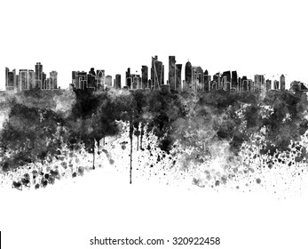 Doha skyline in black watercolor