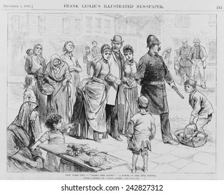 DOING THE SLUMS. A policeman leading three well dressed upper class people through the Five Points neighborhood of New York City. 1885 wood engraving.