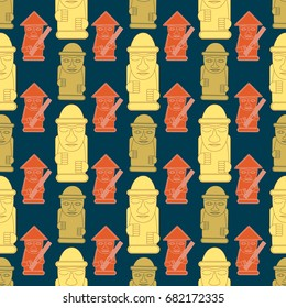 Dol hareubangs, also called tol harubangs, are large rock statues found on Jeju Island off the southern tip of South Korea. Seamless pattern