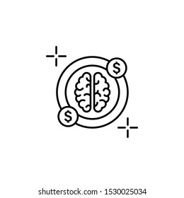 Dolar money brain icon. Element of brain concept