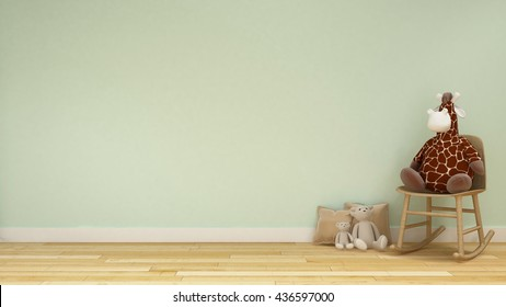 doll giraffe and bear in kid room or family room pastel style - 3d rendering