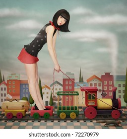 Doll on  the toy train