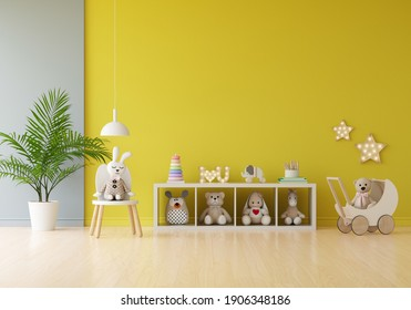 Doll and toy in yellow child room for mockup, 3D rendering