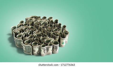 dollar bills laid out in the form of convolutions of the brain concept of monetization of knowledge or investment in learning 3d render on green gradient