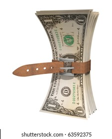 dollar bills squeezed together by leather belt