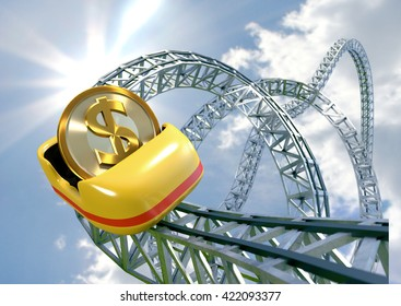 Dollar coin speeding in a roller coaster cart - 3D illustration of unstable or rapidly changing currency.
