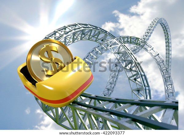 Dollar Coin Speeding Roller Coaster Cart Stock Illustration
