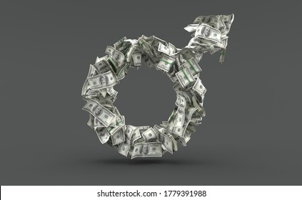 Dollar currency in male gender shape isolated on grey background. 3d illustration