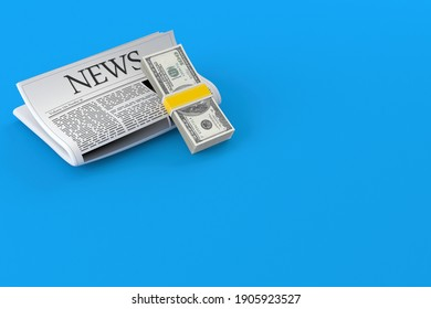 Dollar currency with newspaper isolated on blue background. 3d illustration