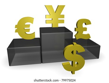 Dollar Euro Yen And Pound Signs With Podium