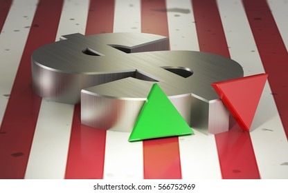 Dollar exchange rate symbol against the flag of the USA - 3d illustration