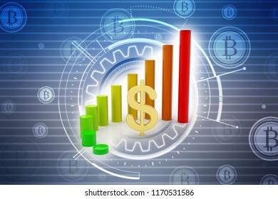 Dollar Financial Success Bar Chart Graph Growing Up. 3d Render Illustration