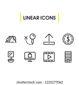 Dollar icon with sandwich, upload, locate symbols. Set of metropolis, arrow, video icons and metropolis concept. Editable  elements for logo app UI design.