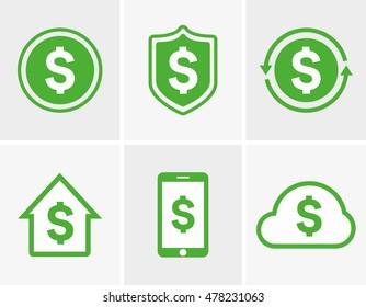 Dollar logo and icon design elements, badges, labels.