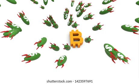 dollar missle to bitcoin 3d illustration background