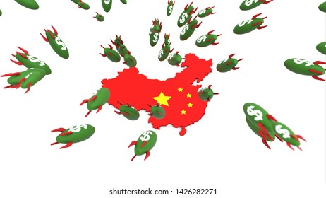 dollar missle to china 3d illustration background