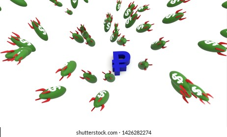 dollar missle to ruble 3d illustration background