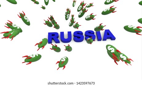 dollar missle to russia 3d illustration background