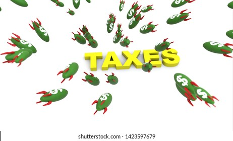 dollar missle to taxes 3d illustration background