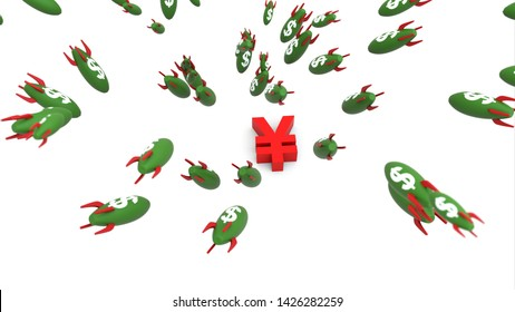 dollar missle to yuan 3d illustration background