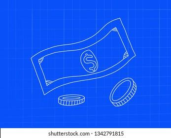 dollar money and coin blueprint concept doodle art - image