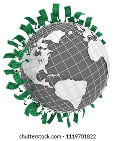 Dollar money symbol cartoon characters globe run, 3d illustration, horizontal, isolated, over white