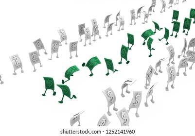 Dollar money symbol cartoon characters value walk, 3d illustration, horizontal, isolated, over white