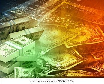 Dollar notes on abstract business background