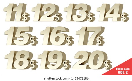 Dollar Pack VOL.2 Metallic gold numbers with dollar symbol. 3D Illustration.