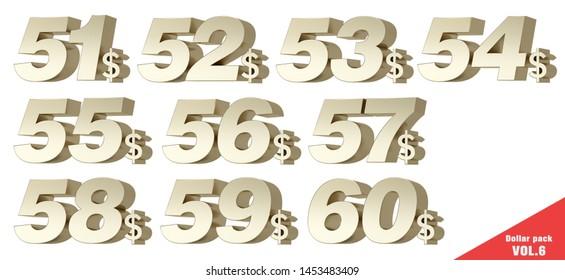 Dollar Pack VOL.6 Metallic gold numbers with dollar symbol. 3D Illustration.